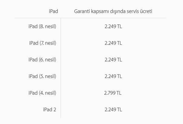 apple ipad servis fiyatlari